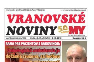 Titulná strana týždenníka Vranovské noviny č. 40/2018.