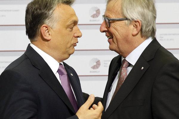Predseda Európskej komisie Jean-Claud Juncker (vpravo) a maďarský premiér Viktor Orbán v roku 2015.