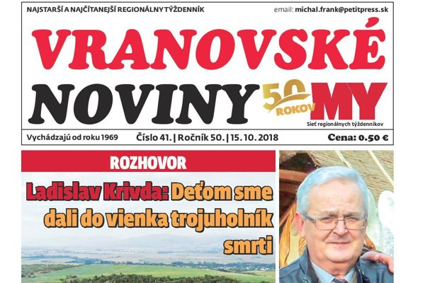 Titulná strana týždenníka Vranovské noviny č. 41/2018.