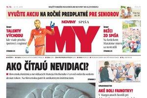 Titulná strana týždenníka MY Noviny Spiša č. 41/2018.