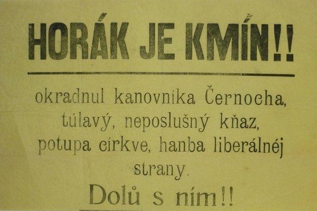 Osočovanie politického súpera fungovalo už pred viac než storočím. Leták z roku 1901.