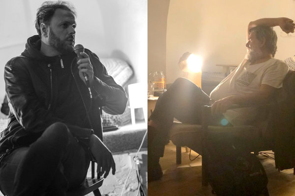 V bardejovskej Bašte diskutovali Michal Haveran a Daniel Pastirčák. (FOTO: JG/MP)