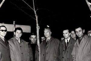 Sadenie lipy slobody v októbri 1968 v Trenčíne.