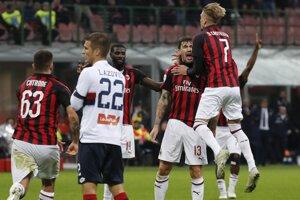 Momentka zo zápasu AC Miláno - FC Janov.