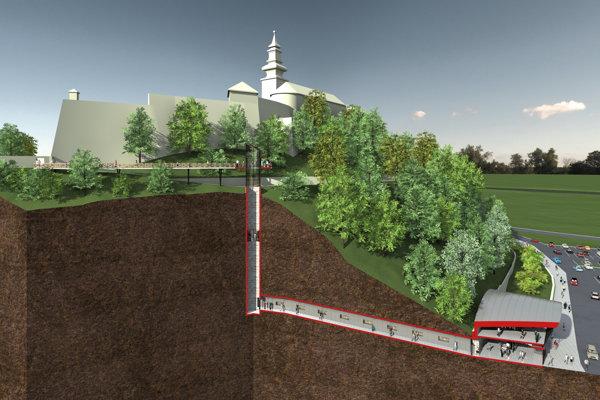 Na tomto priereze hradným kopcom vidieť, ako sa ľudia dostanú podzemným tunelom k výťahu.