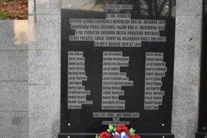 Pamätná tabuľa s menami chlapov, ktorí padli v 1. svetovej vojne.