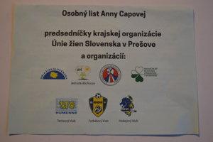 Anna Capová, predsedníčka Krajskej organizácie Únie žien Slovenska v Prešove, napísala v moratóriu osobný list na podporu Vaľovej.