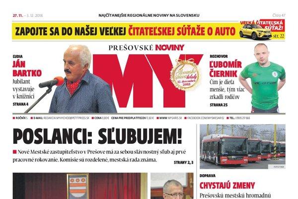 Titulná strana týždenníka MY Prešovské noviny č. 47/2018.