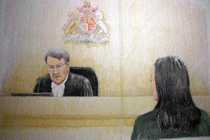 Ilustrácia súdneho pojednávania s finančnou riaditeľkou Huawei.