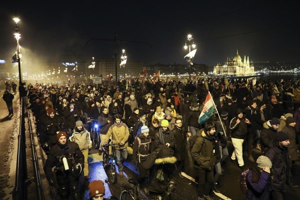 Protivládni demonštranti v Budapešti.