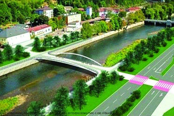 Návrh mosta pre peších a cyklistov pripomína bratislavský most Apollo v menšom.