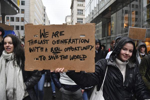 Protest proti klimatickým zmenám v Belgicku.