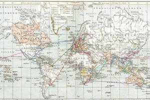 Cesty Samka po svete s vyznačením základných trás a destinácií, ktoré navštívil.
