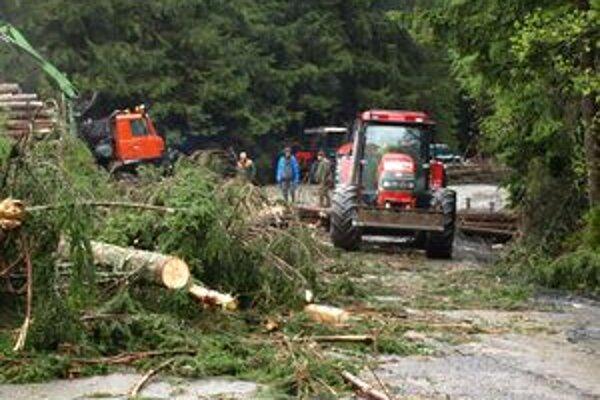 Dažde a vietor vyváľal stromy aj na ceste nad Vyšnou Bocou.