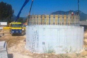 Bioplynová stanica počas výstavby.