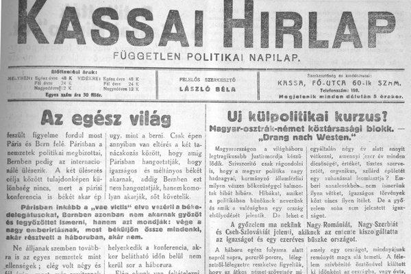 Posledné číslo denníka Kassai Hirlap pred jeho dočasným zakázaním.