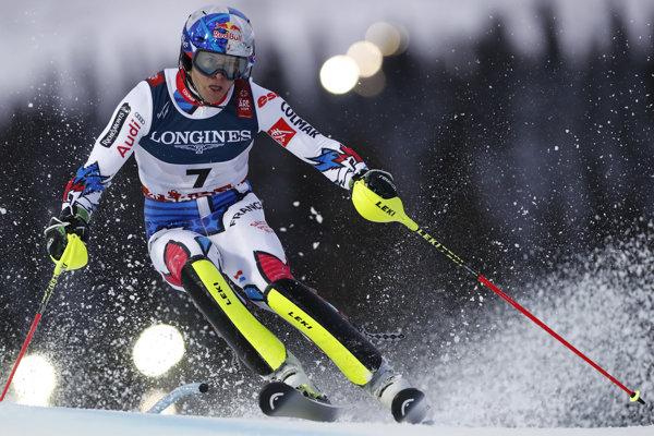 Alexis Pinturault počas slalomu v alpskej kombinácii MS v lyžovaní vo švédskom Aare.