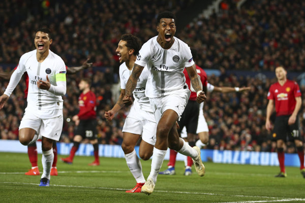 Momentka zo zápasu Manchester United - PSG.
