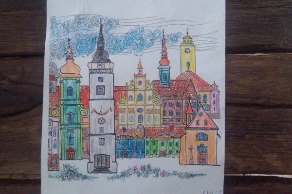 Mesto Trnava na ilustrovanej kresbe.