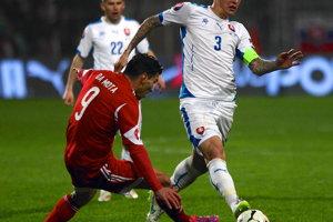 Martin Škrtel odohral v reprezentácii 103 zápasov a strelil šesť gólov. Zúčastnil sa MS 2010 a ME 2016.  Momentka z roku 2015.