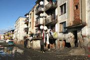 Rómska osada v Trebišove.