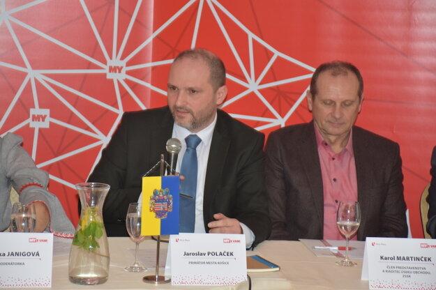 Diskusné stretnutie so županom KSK Rastislavom Trnkom. Na fotografii primátor mesta Košice Jaroslav Poláček.