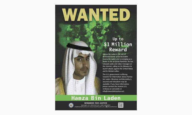 Bin Ládinov syn je medzinárodne hľadaným teroristom.
