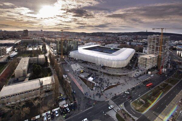 Pohľad na Národný futbalový štadión.