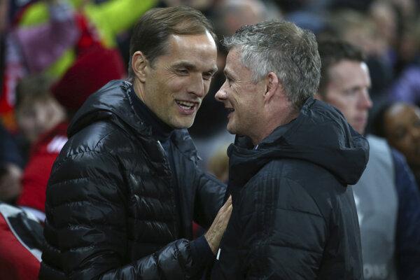 Na snímke sprava tréner United Ole Gunnar Solskjaer a tréner PSG Thomas Tuchel.