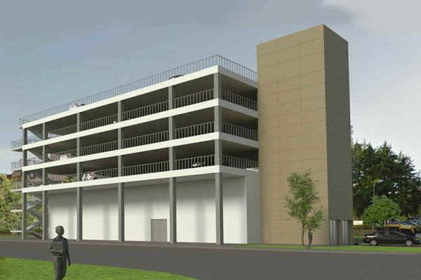 Návrh štvorposchodového parkovacie domu s výťahmi.
