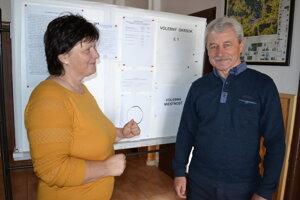 Predseda okrskovej volebnej komisie Michal Petko s pracovníčkou úradu Agátou Černegovou.