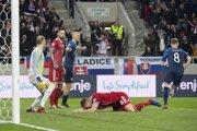 Momentka zo zápasu Slovensko - Maďarsko v kvalifikácii ME vo futbale 2020.