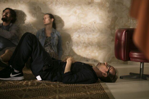 Julius Ševčík leží pod ónyxovou stenou vo vile Tugendhat.
