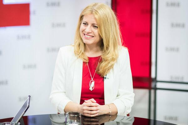 Zuzana Čaputová vo volebnom štúdiu denníka SME.