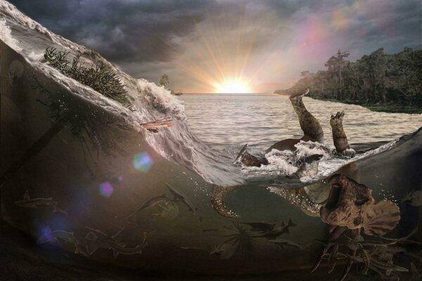 Umelecké zobrazenie prívalovej vlny vo vnútrozemskom mori, ktorá zmietla a pochovala množstvo živočíchov.