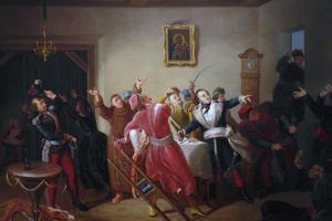Casimir Pulaski (muž vpravo v čiernobielej uniforme) so svojimi podporovateľmi v bare.