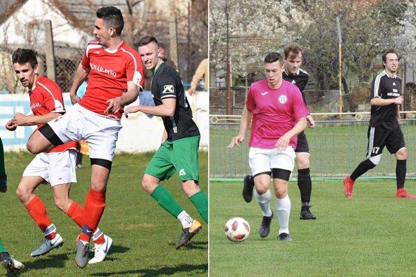 Futbalisti Nového Života (v červenom) zdolali Hrušovany 6:0. Snímka vpravo je zo zápasu Kolárova s Veľkými Lovcami.