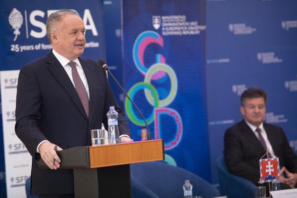 Prezident Andrej Kiska a minister zahraničných vecí a európskych záležitostí Miroslav Lajčák.