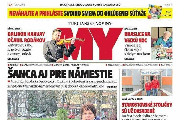 Titulná strana najnovšieho vydania MY Turčianskych novín.