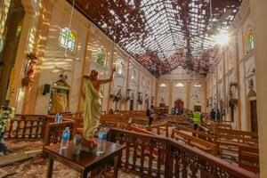 Zničený kostol svätého Šebastiána v meste Negombo.