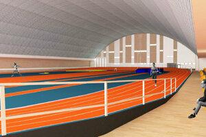 Náhľad vnútra atletickej haly, ktorá by mala vyrásť v Košiciach.