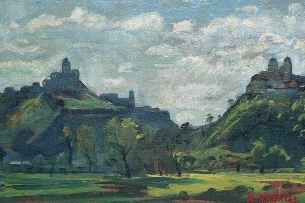 Herman Kasriel : Trenčín, tempera na plátne, 1931.