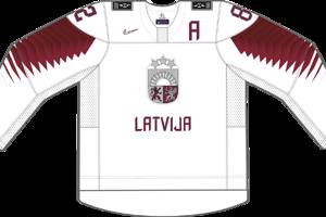Dres Lotyšska určený pre zápasy, v ktorých je napísané ako domáci tím.