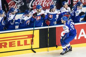 Erik Černák sa teší v zápase Slovensko - USA na MS v hokeji 2019.