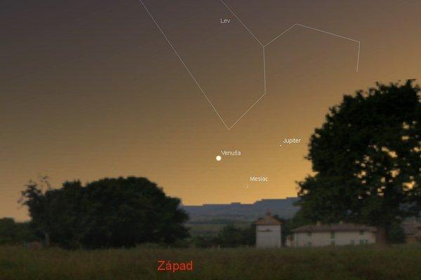 Venušu s Jupiterom môžete sledovať už počas týchto dní, 18. a 19. júla sa k ním pridá aj Mesiac.