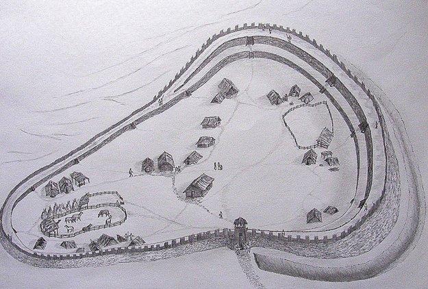 Kresba Tomáša Humaja zwebového portálu Slovanské hradiská vytvára predstavu omožnom vzhľade hradiska v9. storočí. Vblízkosti brány stál pravdepodobne najväčší zrubový dom, vktorom žil veľmož. Portál upozorňuje, že kresba nie je archeologickou rekonštrukciou, na ňu nie je dostatok vedeckých podkladov. Zástavba bola možno hustejšia, kresba zobrazuje domy tam, kde ich predpokladajú archeológovia na základe nálezov (napr. zvyšky ohnísk) vmiestach, kde im majitelia záhradkárskych pozemkov dovolili robiť sondy.