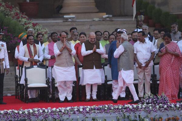 Indický premiér Naréndra Módí počas slávnostnej prísahy v prezidentskom paláci v Naí Dillí.