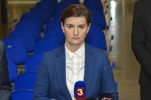 Srbská premiérka Ana Brnabičová počas návštevy Slovenska v decembri 2018 (TASR)