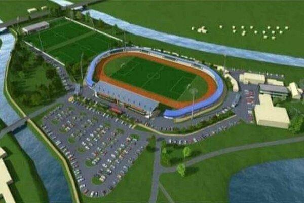 Predbežná vizualizácia projektu. Namiesto veľkého parkoviska vľavo by mala byť ďalšia tréningová plocha.
