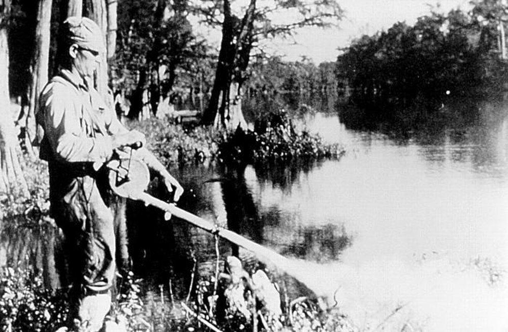 Rozprašovanie DDT na brehu jazera v roku 1958.